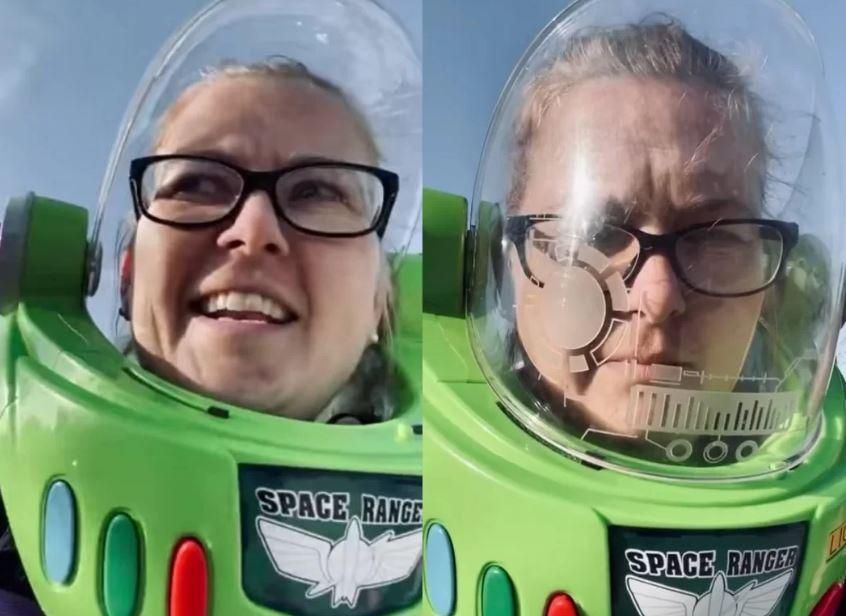 Mãe usa máscara de Toy Story do filho para ir ao supermercado e viraliza nas redes sociais