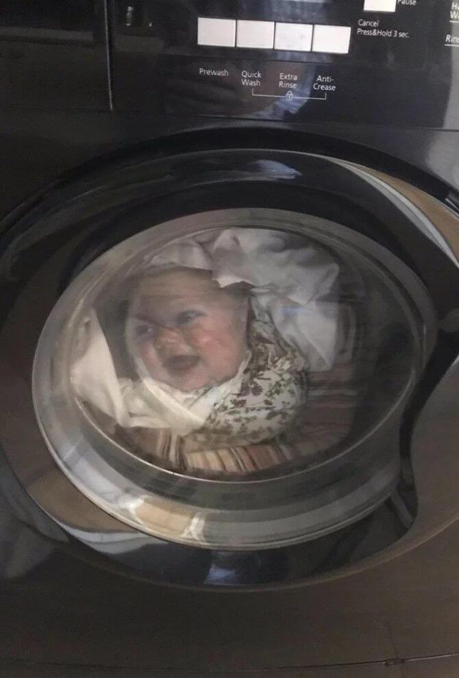 Pai quase infarta ao ver rosto de seu bebê na máquina de lavar - Papo de Pai