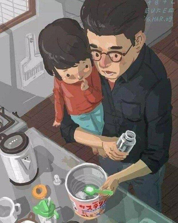 Artista chinês ilustra sua vida como pai solteiro e emociona o mundo inteiro - Papo de Pai