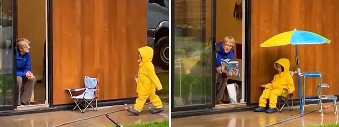 Todos os dias esse pequeno visita a avó para lerem uma história, sempre mantendo a distância necessária