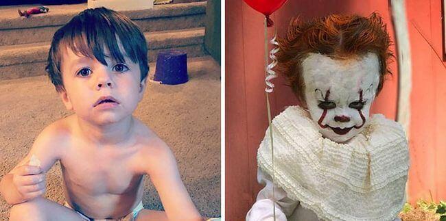 Coisa de irmão mais velho: ele transformou seu irmãozinho de 3 anos em personagem macabro