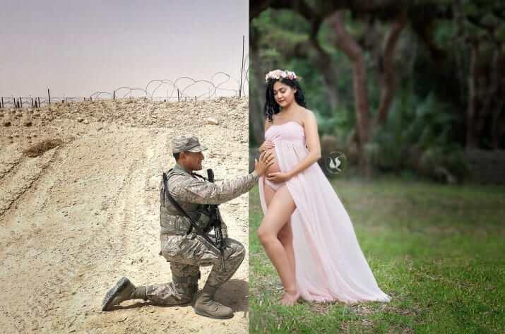 Ensaio fotográfico une virtualmente grávida e marido em missão no Exército