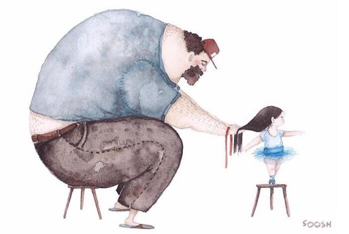 Ilustradora ucraniana retrata o amor especial entre Pai e filha de maneira tocante