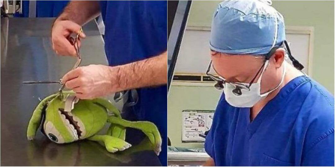 Médico faz cirurgia em um brinquedo para deixar a criança tranquila
