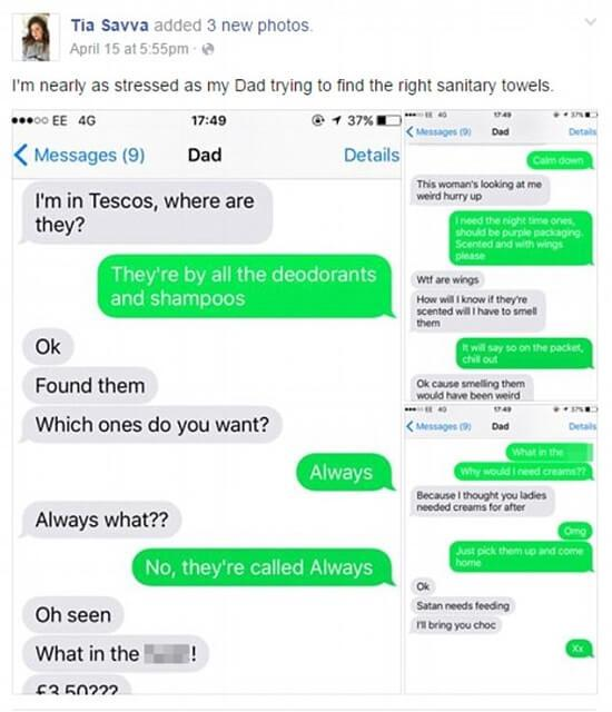 Pai tenta comprar absorvente para filha e conversa entre os dois viraliza