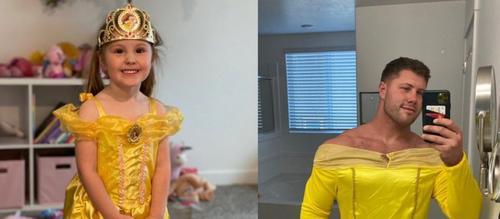 Pai se veste de Bela pra brincar com filha e viraliza no Twitter