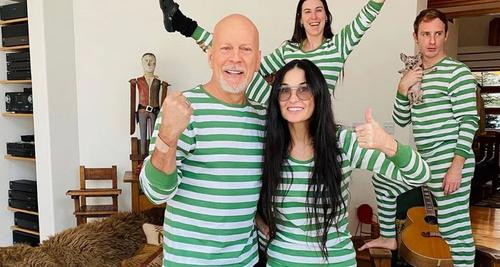 Separados há 20 anos, Bruce Willis e Demi Moore estão passando quarentena junto com os filhos